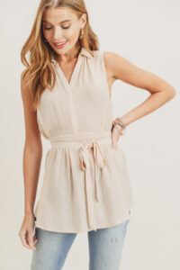 Sleeveless Shirt with Waist Tie